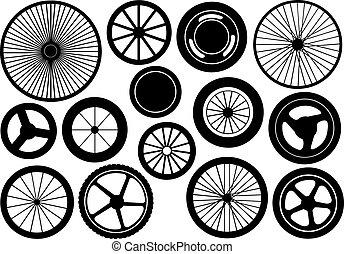 diferente, conjunto, ruedas