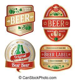 diferente, conjunto, shapes., etiquetas, cerveza, brillante...