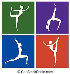 diferente, conjunto, silueta, color, postura, fondos, condición física, yoga, o