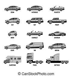 diferente, conjunto, tamaños, isolated., automóvil, capabilities, modelos, coche, o