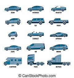 diferente, conjunto, tamaños, isolated., automóvil,...