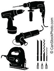diferente, conjunto, tools., potencia, 4