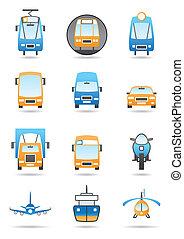 diferente, conjunto, transportations, iconos