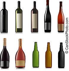 diferente, conjunto, vector, drinks.