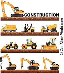 diferente, construção, tipos, caminhões, chão