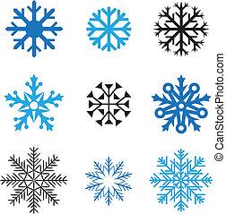 diferente, copos de nieve