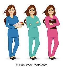 diferente, cor, três, uniforme, posar, esfregações, enfermeira