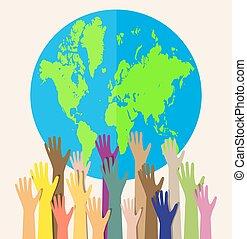 diferente, cores, globo, mãos