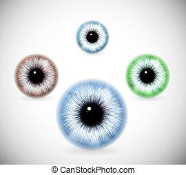 diferente, cores, pupilas