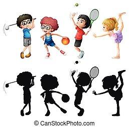 diferente, crianças, esportes