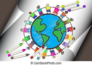 diferente, crianças, grupo, raças, segurar passa