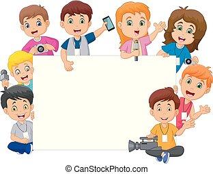 diferente, crianças, profissões, sinal, em branco, caricatura, feliz