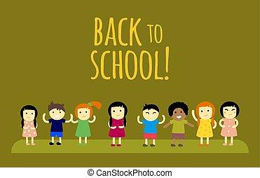 diferente, crianças, pupilas, costas, escola, vetorial, illustration.