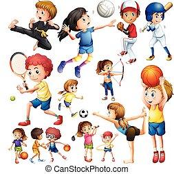 diferente, crianças, tipo, esportes