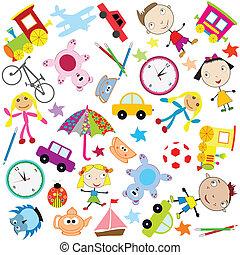 diferente, crianças, tipo, fundo, brinquedos