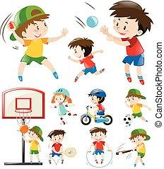 diferente, crianças, tipos, esportes