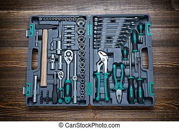 diferente, de madera, instrumentos, banco de trabajo, caja...