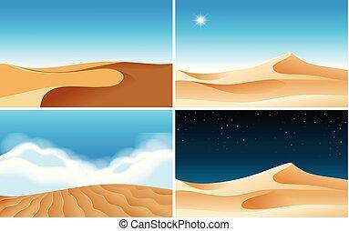 diferente, desertos, cenas, vezes, quatro, fundo