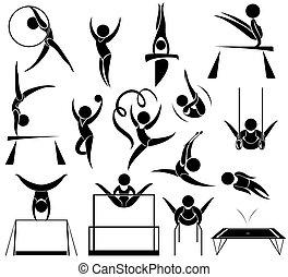 diferente, desporto, athelte, ícone, esportes