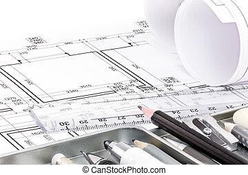 diferente, dibujo, herramientas, para, diseñador, en, arquitectónico, dibujo, de, apartamento