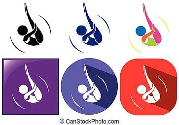 diferente, diseños, de, deporte, iconos, para, buceo