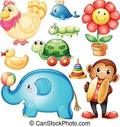 diferente, diseños, de, juguetes