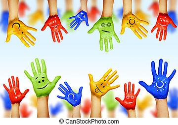 diferente, diversidad, étnico, cultural, colors., manos