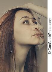 diferente, dobro, facial, retrato, expressão, exposição