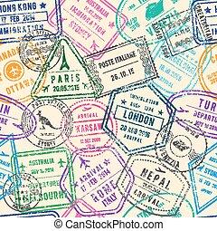 diferente, documentos, padrão, viagem, seamless, vetorial, viajando, selos, ilustrações, visto