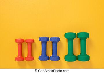 diferente, dumbbells, cores, tamanhos