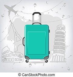 diferente, elementos, viaje, eiffel, coliseo, bolsa, pisa,...