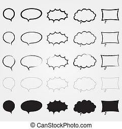 diferente, elements., set., aislado, discurso, cómico, styles., burbujas