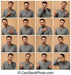 diferente, emoções, retratos, colagem, homem