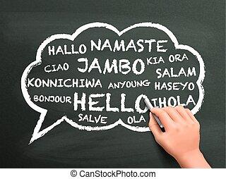 diferente, escrito, saludo, idioma, mano