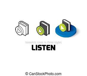 diferente, escutar, estilo, ícone