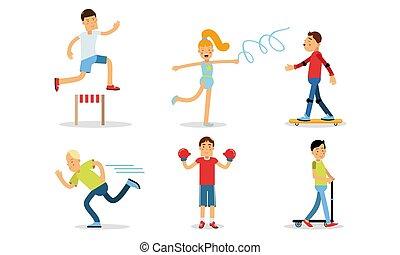 diferente, esportes, jogo, ilustrações, pessoas, tipos, vetorial