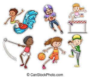diferente, esportes, tipos, pessoas