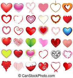 diferente, estilo, de, corações