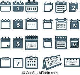 diferente, estilos, de, calendario, iconos de la tela,...
