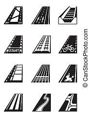 diferente, estradas, tipos