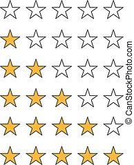 diferente, estrela, ícones, vetorial, jogo