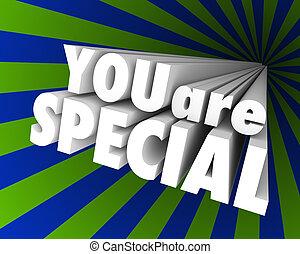 diferente, excepcional, palabras, usted, único, especial, 3d
