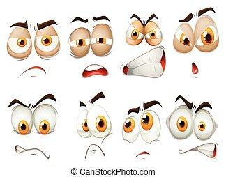 diferente, expressão, emoções, facial