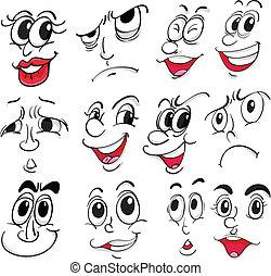 diferente, expressões faciais