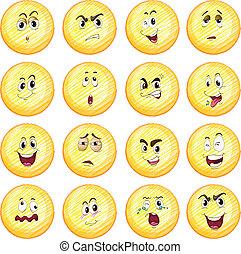 diferente, expressões, facial