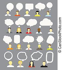diferente, fala, bolhas, cobrança, pessoas