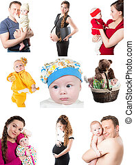 diferente, família, colagem, fotografias, pai, bebês, momentos, mother., feliz