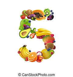 diferente, feito, alfabeto, número, isolado, bagas, fruta, cinco, fundo, frutas, branca