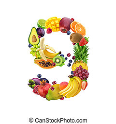 diferente, feito, alfabeto, número, isolado, bagas, fruta, nove, fundo, frutas, branca