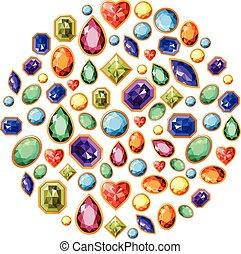 diferente, feito, símbolo, isolado, jóias, desenho, white., círculo, seu